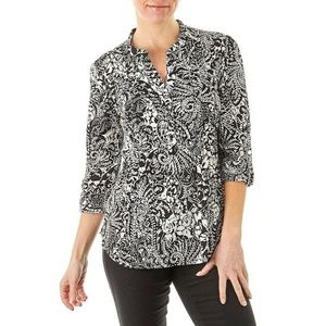 Verarose Pleated Puff Paint Floral Top